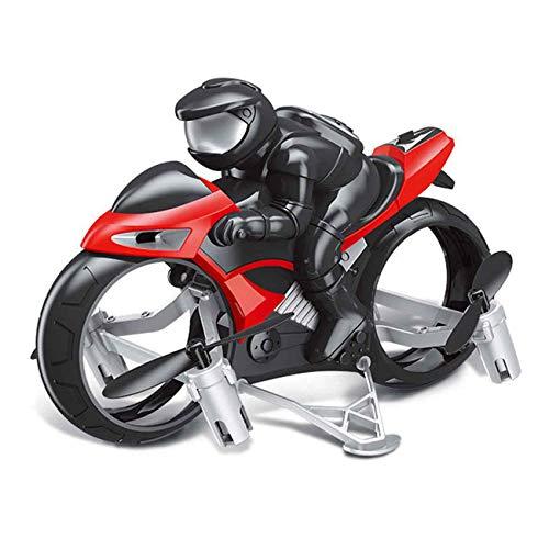 MAFANG RC Motocicleta, Mini Drone Quadcopter para Niños Y Adultos, RC Coche Racing 2-En-1 Modo Tierra Aire Un Interruptor De Llave Motocicletas De Radiocontrol 2.4G RC Drone Quadcopter,Rojo