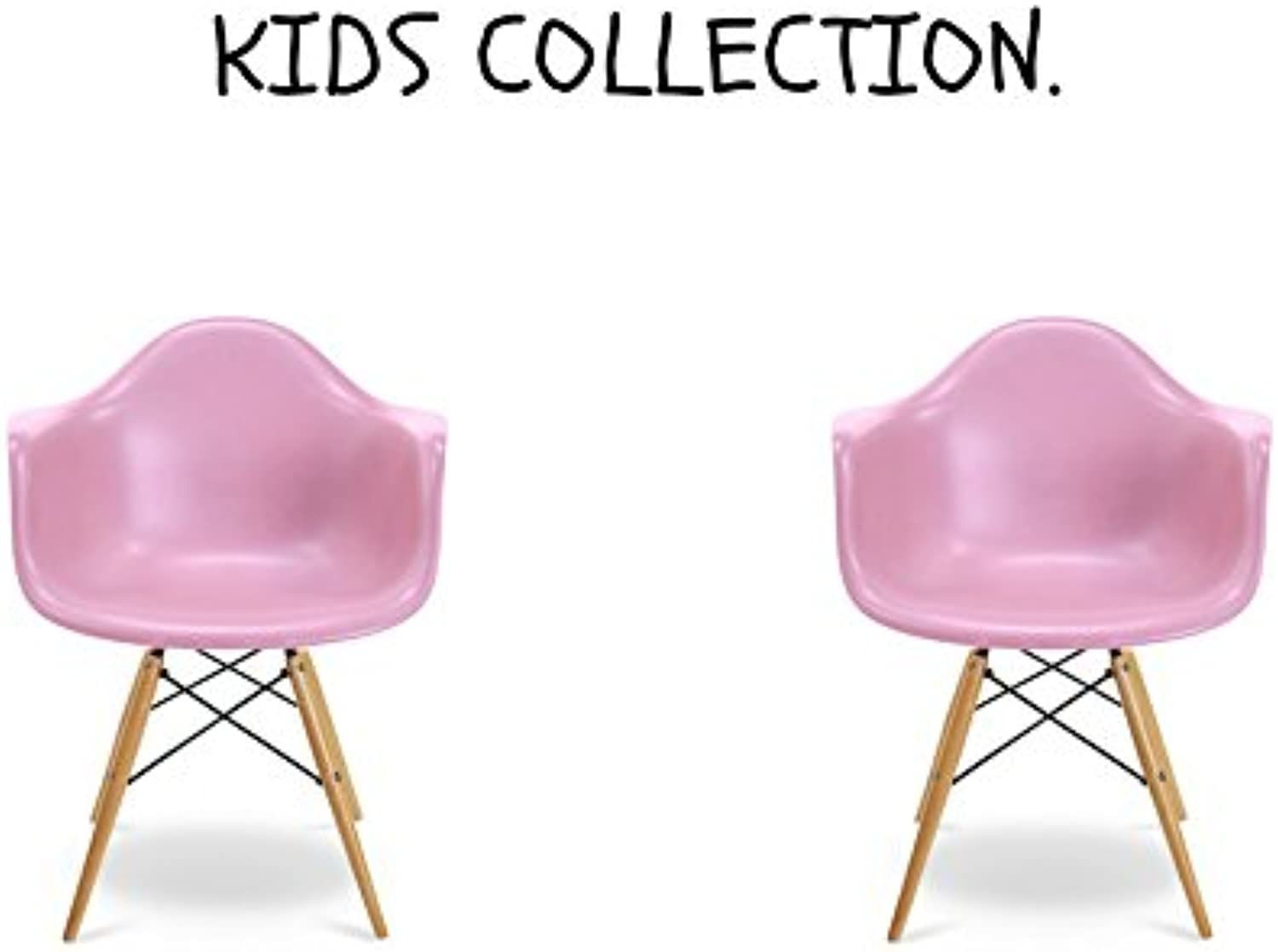 Take Me Home Furniture Bucket Kids arm Chair with Natural Wood Legs (Set 2, Pink)