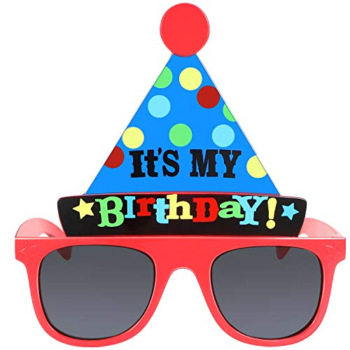 Skylety Happy Birthday Glasses It's My Birthday Funny Hat Glasses Birthday Party Sunglasses Novelty Party Hat Glasses Self Photo Props for Kids Birthday Party Favor
