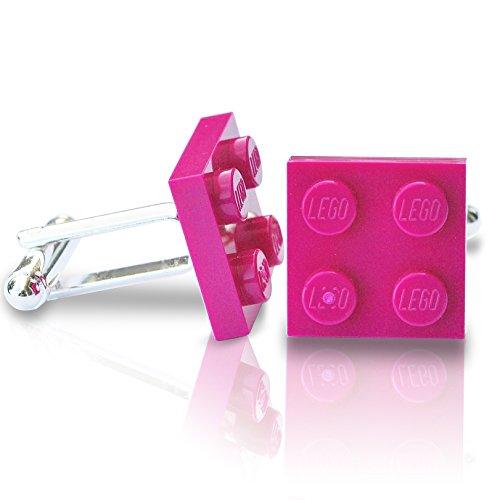 SJP Cufflinks LEGO® plaque Boutons de manchette (Bordure Rose Magenta) Mariage, marié, Coffret cadeau pour homme