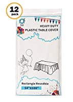 """D&Z 12 Pack White Plastic Tablecloth Rectangle 54"""" X 108"""" Heavy Duty Disposable Table Cover for Party Birthday Wedding Thanksgiving Christmas [並行輸入品]"""