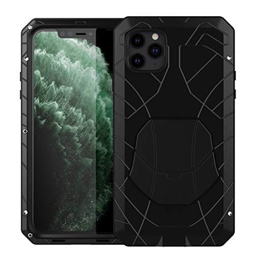Eastcoo - Custodia per iPhone 11 Pro Max, in lega di alluminio, resistente, in gomma morbida ibrida, antiurto, con vetro Gorilla Glass per iPhone 11 Pro Max 6,5'', colore: Nero