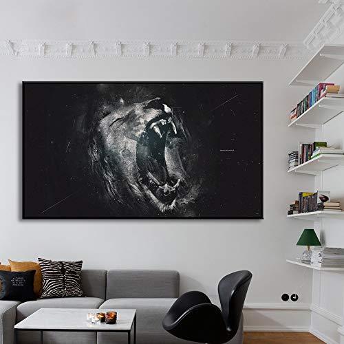 WLEYYY kunstschilderij zwart-wit-leeuwen-blouse-muur-kunst-prints en affiche-schilderij op canvas- Scandinavische woonkamer 60X80 cm No Framed 1 stuks