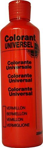 Vermillon Colorant Universel Concentré 250 ml pour toutes peintures décoratives et bâtiment. Grande compatibilité aussi bien en milieux solvant et aqueux. Convient également à la coloration des enduits , plâtres , et résines. Grande facililté de dosage grâce à son bouchon compte goutte