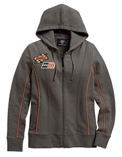 Harley-Davidson Women's Screamin' Eagle Zipper Hoodie, Charcoal 96293-18VW (2W)
