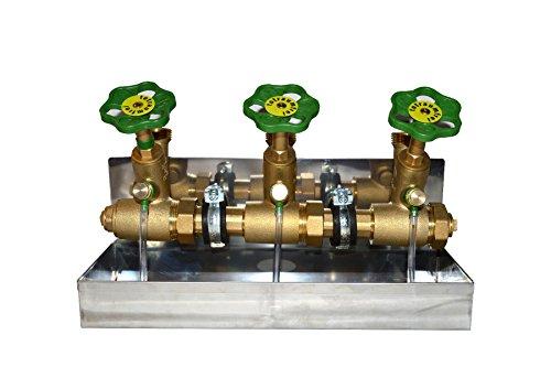Schlösser Kompakt Verteiler DN25 - 3 Abgänge DN20-Wasserverteiler inkl V2ARinne,. 2 x Rohrschelle und 2 Stockschraube