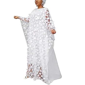 HD African Women Applique Flower Dress Boat Neck White Kaftan Chiffon Gown One Size