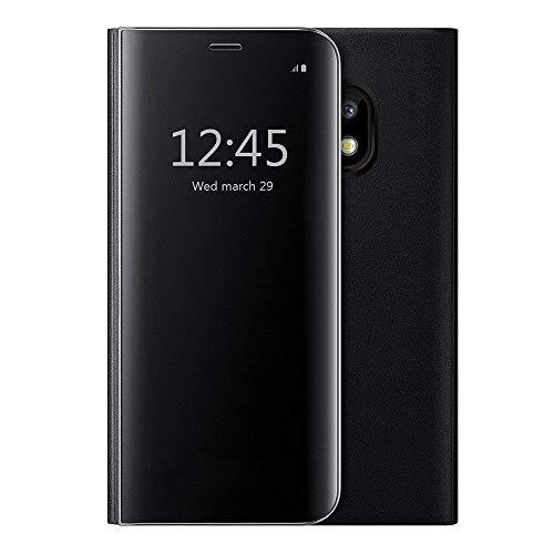 Oihxse Compatibile con iPhone 6 Plus Cover,Flip Custodia Cover con Funzione Kickstand,Ultra-Sottile Specchio Traslucido Cover per iPhone 6s Plus Cover,PU Silicone Protezione a quattro angoli (nero)