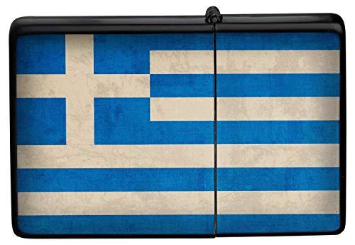 Feuerzeug Benzinfeuerzeug Sturmfeuerzeug Metallfeuerzeug in Farbe Schwarz Feuerzeug Schwarze Griechenland Flagge