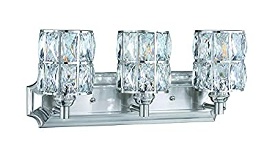 Doraimi 3 Light Crystal Wall Sconce Lighting with Brushed Nickel Finish,Modern and Concise Style Wall Light Fixture with Crystal Plate Metal Shade for Bath Room, Bed Room, LED Bulb(not Include)