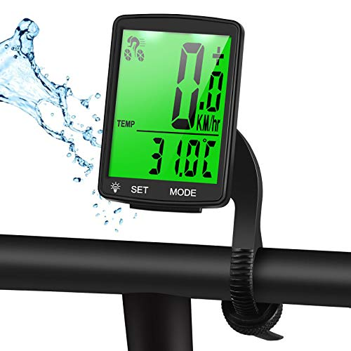 Fahrradcomputer Kabellos Wasserdicht, Fahrradtachometer mit Hintergrundbeleuchtung, Auto Aufwecken Fahrradtacho Kabellos, LCD Fahrrad Computers Drahtlos, Radcomputer für Kinder und Erwachsene - Grün