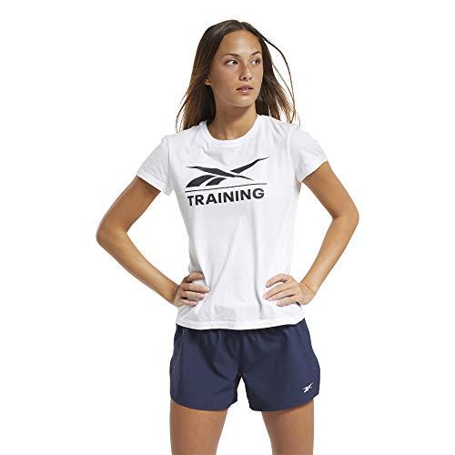 Reebok Training tee Camiseta, Mujer, Blanco, M