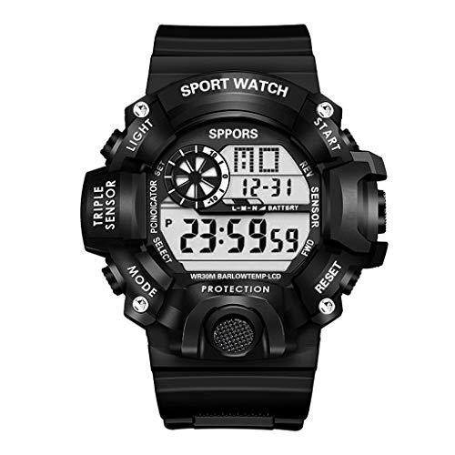 Relojes Deportivos para Hombre, ZGNB Reloj de Pulsera Reloj Pulsera Digital LED (Negro)