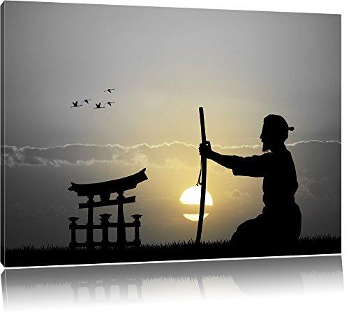 Pixxprint Samurai-Meister vor Horizont als Leinwandbild | Größe: 120x80 cm | Wandbild | Kunstdruck | fertig bespannt