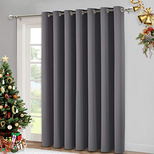 NICETOWN Patio Sliding Door Curtain - Wide Blackout Curtains, Keep Warm Draperies, Grey Sliding Glass Door Drapes (Gray, 100 inches W x 84 inches L)