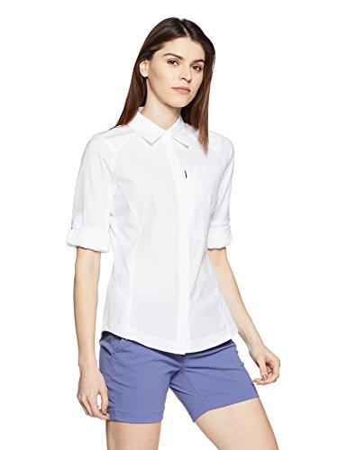 Columbia Chemise de Randonnée à Manches Longues Femme, Silver Ridge Long Sleeve Shirt, Nylon, Blanc, Taille M, AL7079