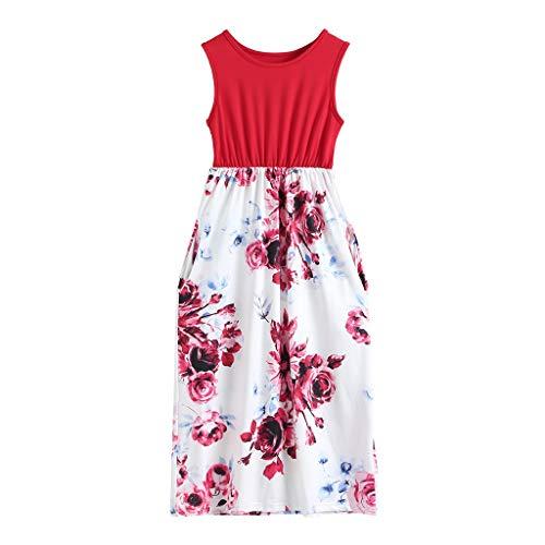 Snakell Mädchen Kleider Kinder Kleider Sommerkleider Lange Kleider Blumenkleid Elegante Kleider ärmellose Maxikleider Blumendruck Kleider Böhmischen Strandkleid mit Tasche
