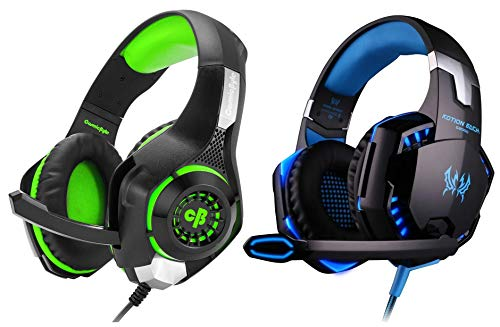 Cosmic Byte GS410 Headphones with Mic and for PS4, Xbox One, Laptop, PC, iPhone and Android Phones (&Kotion Each Over The Ear Headsets with Mic & LED - G2000 Edition (Black/Blue)