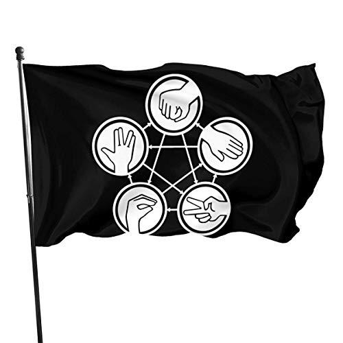 shenhaimojing Piedra Papel Tijeras Bandera De La Familia,Inicio Decorativo Al Aire Libre,Bandera Brisa,Banderas De Jardín,3X5Ft