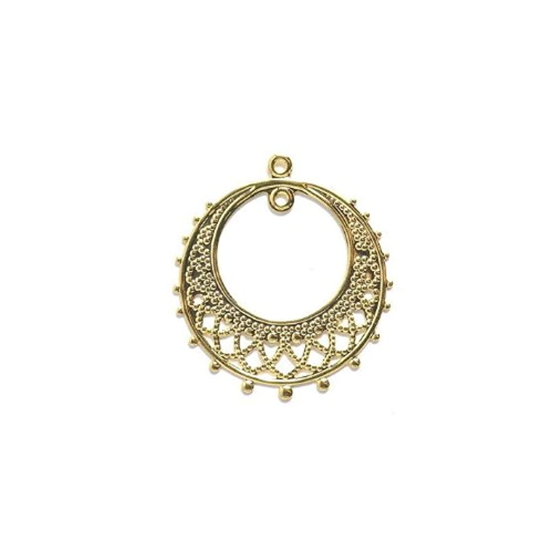 Shipwreck Beads Electroplated Brass Earring Round Drop 1-Loop, 25 by 28mm, Metallic, Gold, 4-Pairs