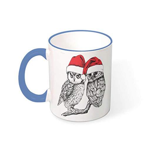 XHJQ88 Kaffeetassen mit Henkel aus Porzellan, glänzend, für Damen, geeignet für Büro, 330 ml, Stahlblau