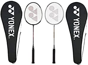 Yonex GR 303 Aluminum Blend Badminton Racquet with Full Cover, Set of 2 (Silver/Black)