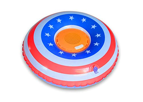 Aduro Aquasound Inflatable Waterproof Bluetooth Speaker Floating Speaker Fun Pool Accessories for Kids American Flag