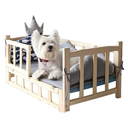Erhöhtes Haustierbett Hundebett mit Grauer Wintermatte, Sommerkühlmatte, Holz Erhöht Hoch Mittel Klein Kinderbett mit Leitplanke (Size : 60×38×42cm)