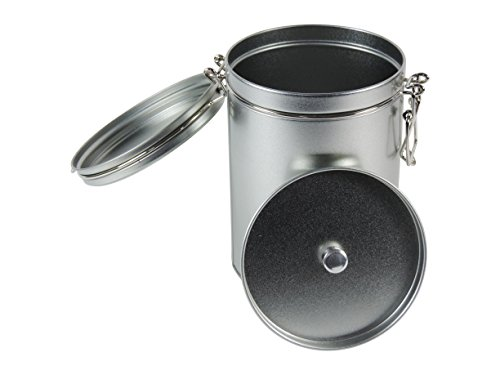 mikken - 1 x Kaffeedose / Teedose rund & luftdicht für 250g mit Bügelverschluss und Aromadeckel, Vorratsdose aus Weißblech (Silber) als Metall-, Gewürzdose & Tabakdose verwendbar (10 x 14,5 cm)