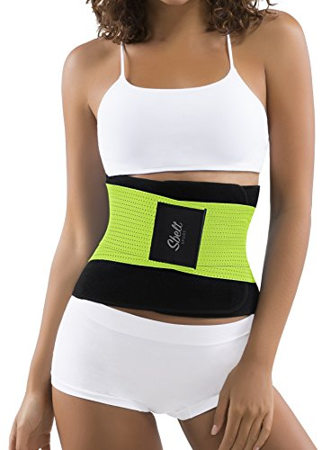 Sbelt Thermal Waist Trainer Slimming Belt – Women's Slimming Body Shaper Trimmer for an Hourglass Shape (Green, Large/X-Large)
