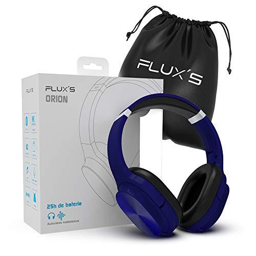 Auriculares Bluetooth de Diadema Flux'S, Cascos Bluetooth 5.0 Inalámbricos, Alta fidelidad, Plegables, Micrófono Incorporado, Micro SD y Radio FM, para iPhone/Android/Samsung/Tablet/TV (Azul)