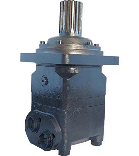 Hydraulikmotor CPMV_SH, Schluckvolumen wählbar von 315 cm3/U – 1000 cm3/U, Anschlüsse: G 1'', Welle: Ø 2 1/8'' verzahnt, 16 Zähne, Modell Axialverteilerventil, 4-Loch Quadratflansch Größe 500 ccm
