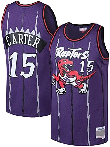 Hombres Jersey NBA Raptors No. 15 Jersey Chaleco Jersey Morado Casual Baloncesto Camisetas de Media Manga, XL