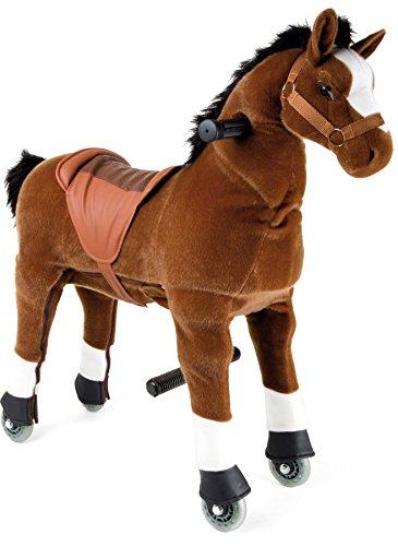 Small Foot 9409 Poulain à monter, avec roues et mécanisme de direction, pour avancer dehors et dedans, à partir de 5 ans cheval de selle, marron
