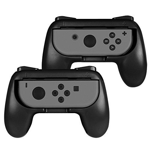Fintie Grip Kompatibel mit Switch Joy-Con - [2er-Pack] [Ergonomisches Design] Verschleißfeste Komfort Griff Kit Griffhalter Kompatibel mit Switch Konsole Joy-Con Controller, Schwarz