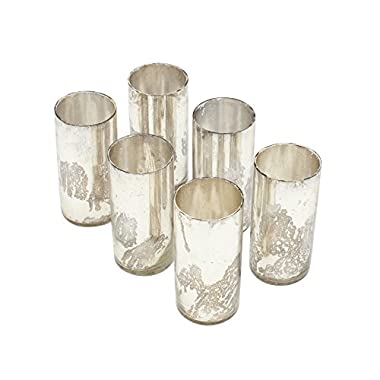 2x4 Antique Silver Cylinders, Set of 6