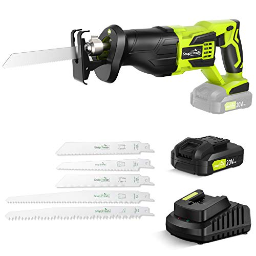Reciprocating Saw - SnapFresh Cordless Reciprocating Saw Battery-powered, 20V 2.0Ah Cordless Saw, 1 Hour Fast Charger, Powerful Saw Reciprocating Lightweight for Wood & Metal Cutting