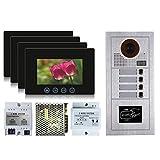 VIDEOCITOFONO 2 FILI 1 2 3 4 MONITOR LCD TOUCH FAMILIARE BIFAMILIARE CONDOMINIALE TELECAMERA (Kit Quadrifamiliare Completo)