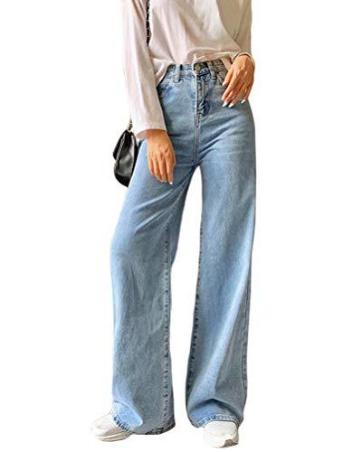 Minetom Damen Jeans Boyfriend High Waist Jeanshose Locker Lang Boyfriend Jeans Blau Weites Bein Hose Denim Straight Lässig Weich Pants D Blau Medium