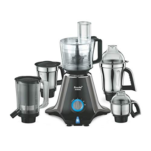 Preethi Zodiac MG 218 Mixer Grinder, 750W, 5 Jars (Black/ Light Grey)