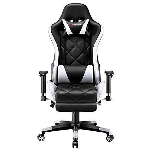 JL Comfurni Gaming Stuhl Bürostuhl mit Fußstütze Ergonomischer Drehstuhl Chefsessel Computerstuhl höhenverstellbar Schreibtischstuhl mit verstellbaren Armlehnen aus Kunstleder Weiß