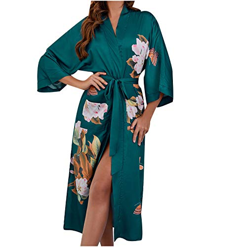 Morbido Accappatoio,Sexy Ricamo In Raso Accappatoio Cintura Pigiama Donne Spose Abito Da Sposa Abito Da Notte Seta Pijama Ladies Casual Accappatoio Rayon Abito Da Notte Lungo Kimono Verde, Xl