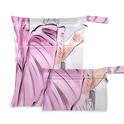 Linda bailarina bolsa de almacenamiento de ropa de baile dos bolsillos 11.8 x 14.2 pulgadas y 5.9 x 8.7 pulgadas bolsa de pañales organizadores de bolsas organizador impermeable bolsa húmeda para pañ
