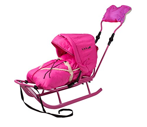 Unbekannt Schlitten Delux mit Lehne,Fußsack,Verstellbarer Schiebestange,Verdeck,Viele Farben (pink-pink)