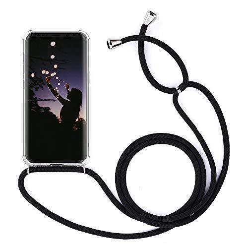 YuhooTech Handykette Handyhülle für LG K61 Smartphone Necklace Hülle mit Handy Band - Schutzhülle mit Kordel Umhängenband - Schnur mit Hülle zum umhängen Cover in Schwarz