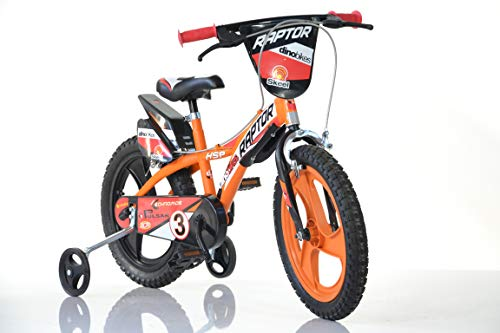 Jungen Kinderfahrrad orange Raptor Jungenfahrrad – 16 Zoll | TÜV geprüft | Original | Kinderrad mit Stützrädern - Das Fahrrad als Geschenk für Jungen