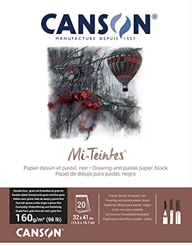 Canson Mi-Teintes 60% Abeja 160 g Bloc Encolado 32 x 41 20H Negro