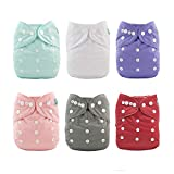 ALVABABY Cloth Diaper, One Size Adjustable Washable Reusable for Baby Girls and Boys 6 Pack with 12 Inserts 6BM100
