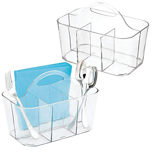 mDesign 2er-Set Besteckkorb – ideal zur Besteckaufbewahrung – inkl. vier Fächer und integrierten Griff zum Transport - nützlicher Besteckkasten und Küchen Organizer – durchsichtig