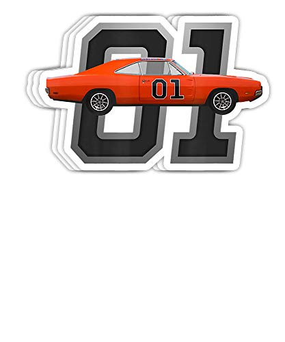 GreenTeeZ Classic Car 1969 Dodge General Charger Dukes Lee Gift Decorations - 4x3 Vinyl Stickers, Laptop Decal, Water Bottle Sticker (Set of 3)